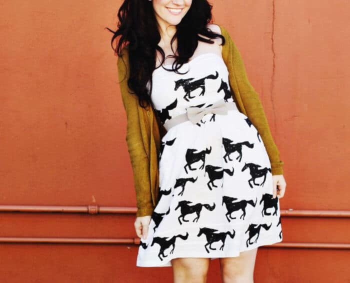 Hand Stamped DIY Pony Print Dress by A Beautiful Mess