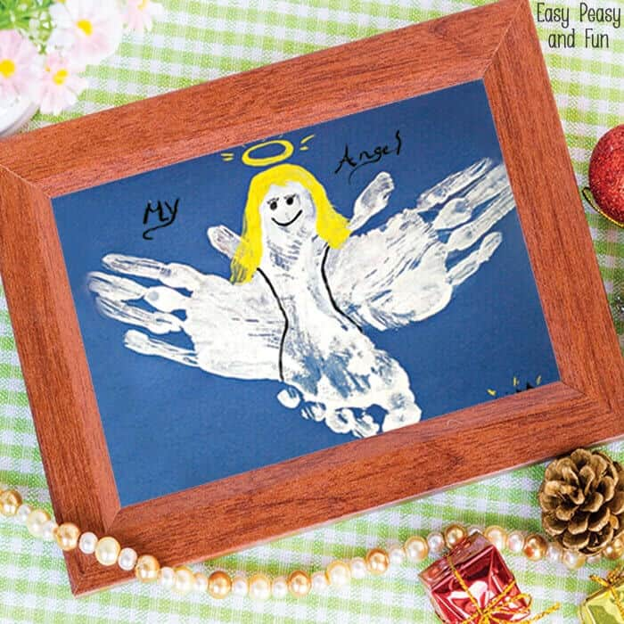 Handprint and Footprint Angel Craft by Easy Peasy and Fun