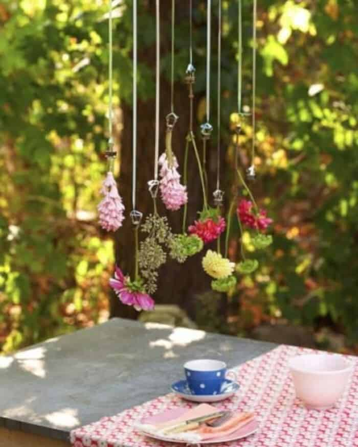 Hanging Flower Table Decoration by Sweet Paul Magazine