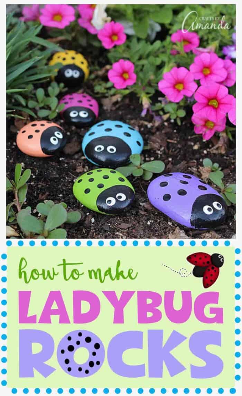 Ladybug Painted Rocks by Crafts by Amanda