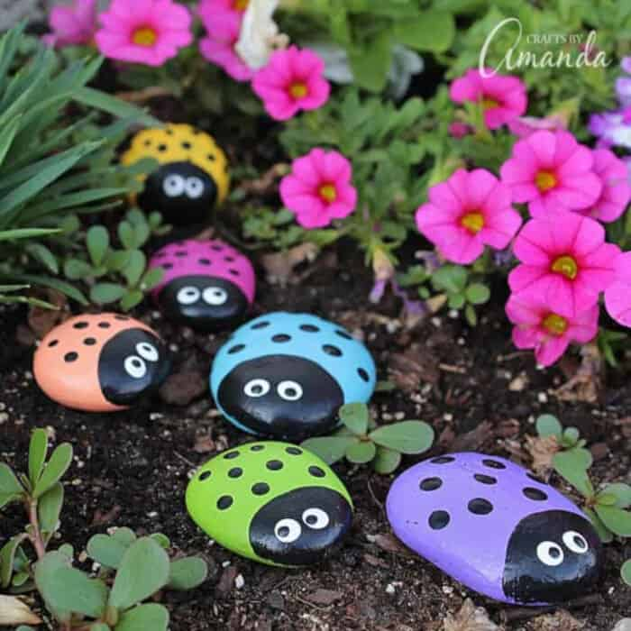 Ladybug Painted Rocks by Crafts by Amanda