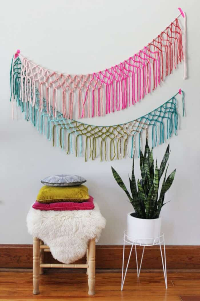 Macrame Yarn Garland DIY by A Beautiful Mess