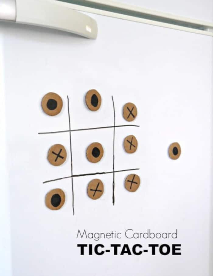Magnetic Cardboard Tic Tac Toe by Make and Takes