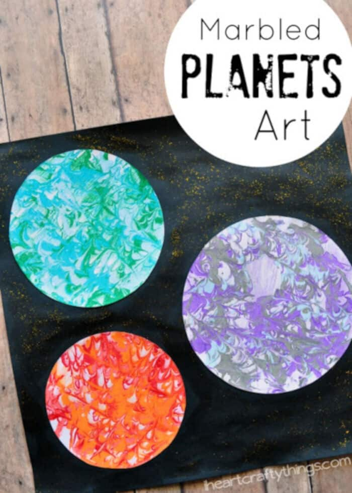 Marbled Planets Art by I Heart Crafty Things