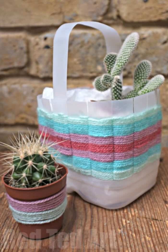 Milk Carton Woven Basket Craft by Red Ted Art