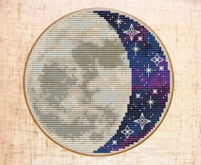 Moon Cross Stitch Pattern by Etsy
