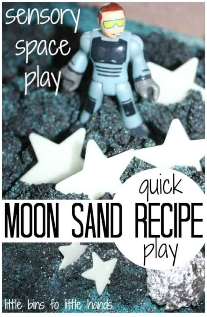 Moon Sand Space Sensory Play Recipe by Little Bins for Little Hands