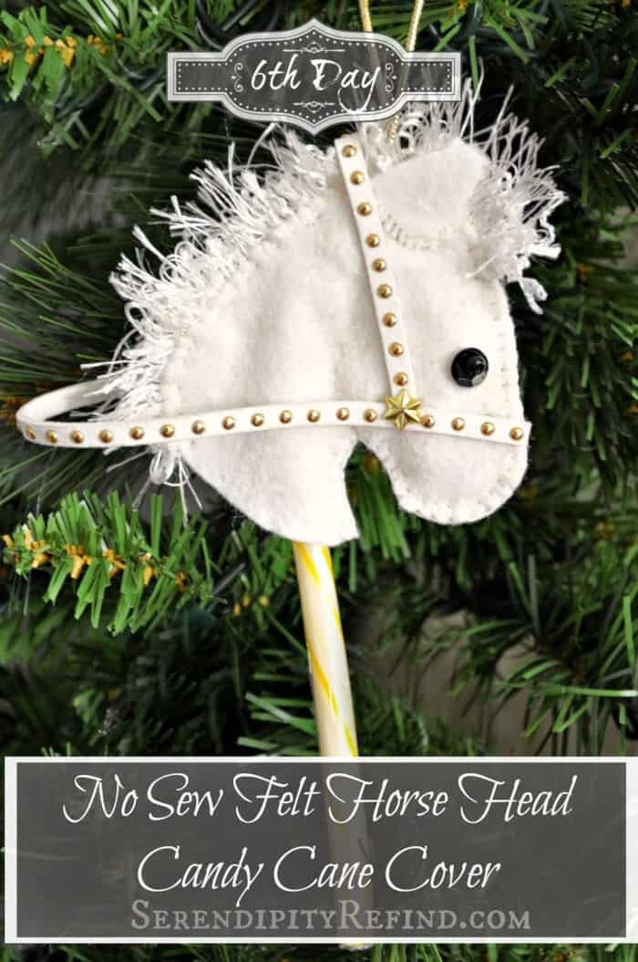 No Sew Felt Horse Head Candy Cane Cover by Serendipity Refined