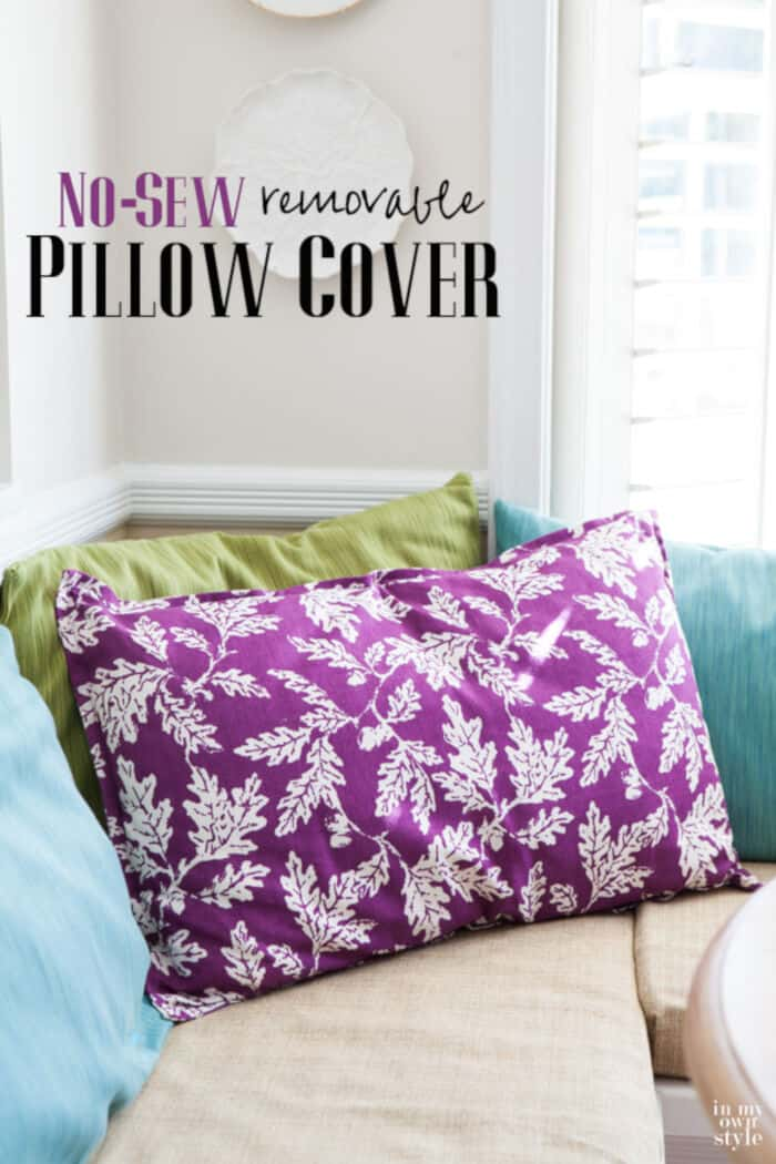 No-Sew Removable Pillow Cover by In My Own Style