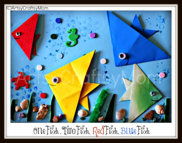 One Fish Two Fish Dr. Seuss Craft Origami Fish by Artsy Craftsy Mom