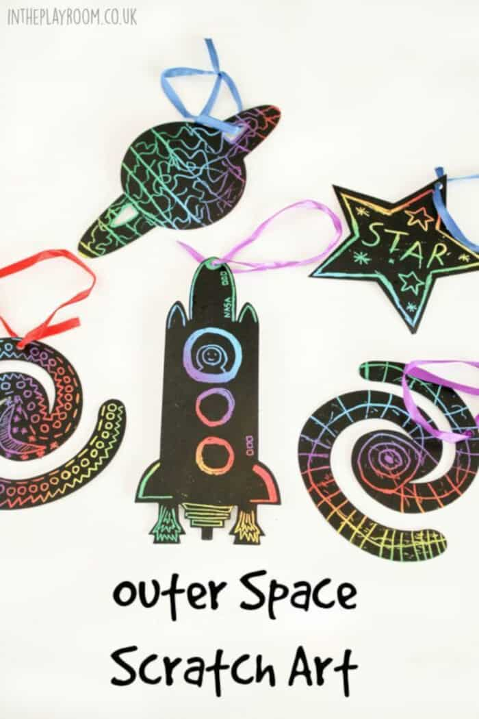 Outer Space Scratch Art by In The Playroom