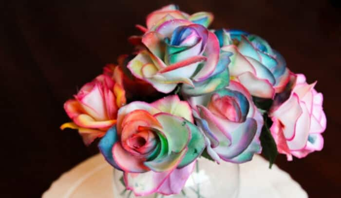 Painting Rainbow Roses by Sugar Spice and Glitter