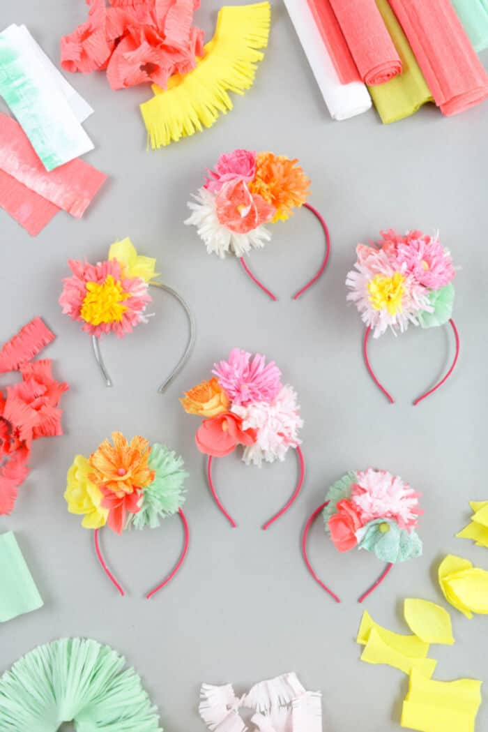 Paper Flower Headband DIY by Oh Happy Day