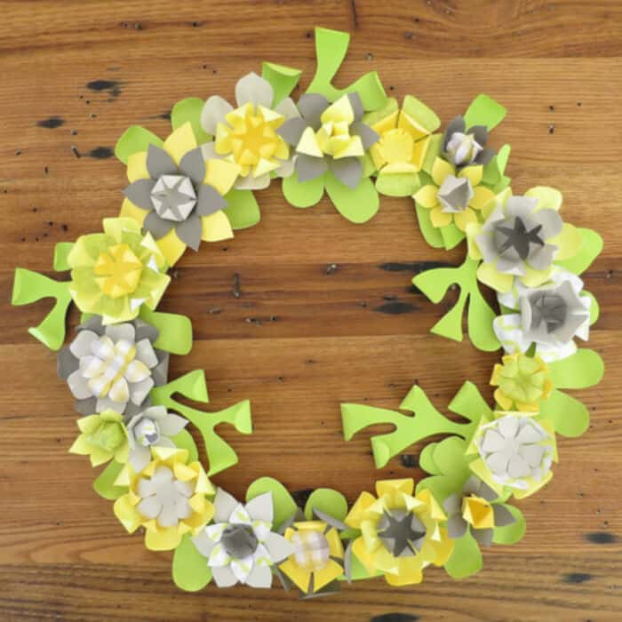 Paper Flower Wreath by Just Crafty Enough