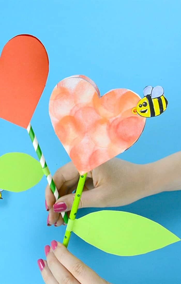 Paper Heart Flower Craft by Easy Peasy and Fun