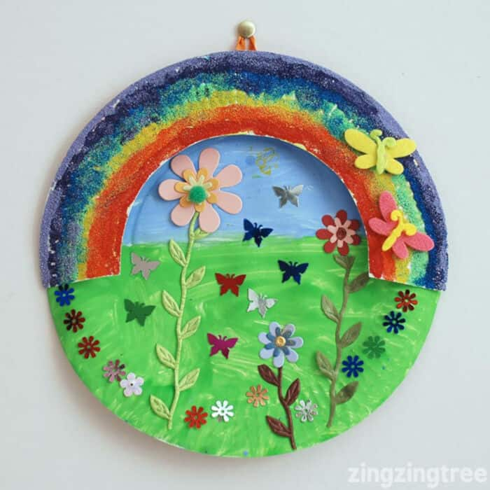 Paper Plate Rainbow Garden by Blue Bear Wood
