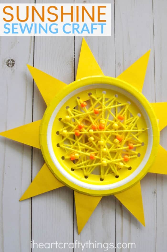 Paper Plate Sun Summer Sewing Craft by I Heart Crafty Things