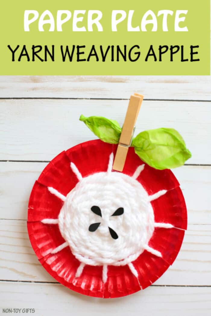 Paper Plate Yarn Weaving Apple by Non-Toy Gifts