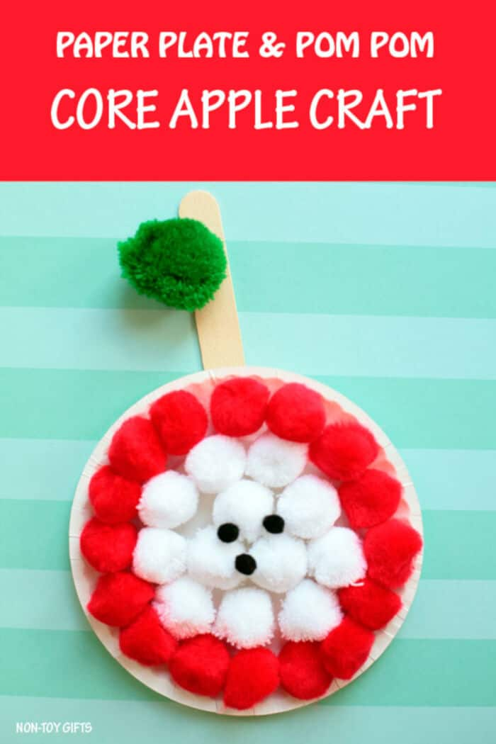 Paper Plate and Pom Pom Core Apple Craft by Non-Toy Gifts