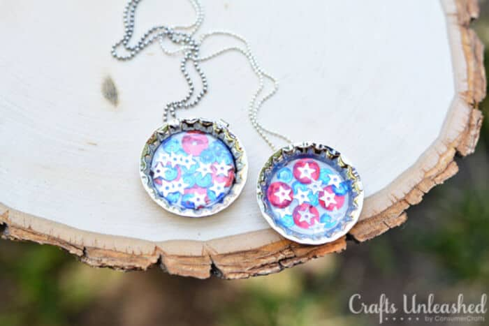 Patriotic Sequin DIY Bottle Cap Necklace by Crafts Unleashed