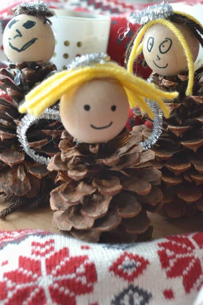 Pinecone Angel Christmas Crafts for Kids by Peace But Not Quiet
