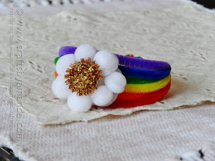 Pipe Cleaner Rainbow Bracelet by Crafts by Amanda