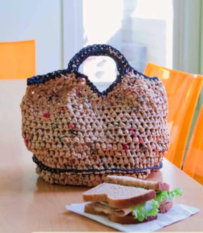 Plarn Lunch Tote for Earth Day by Vickie Howell