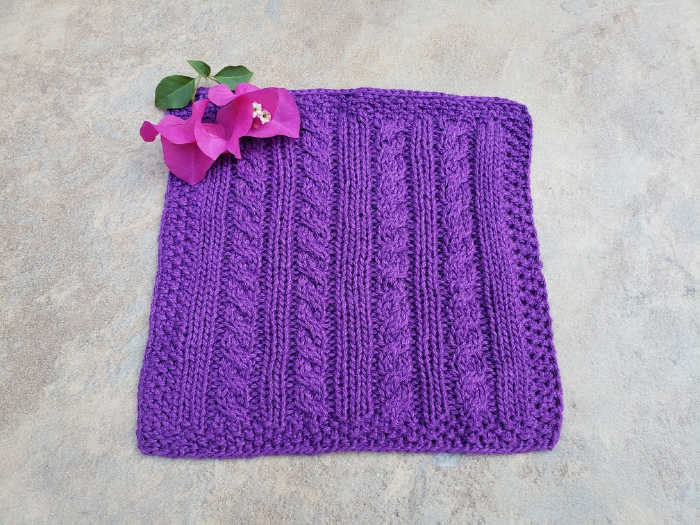 Purple Knitted Cable Dish Cloth 700