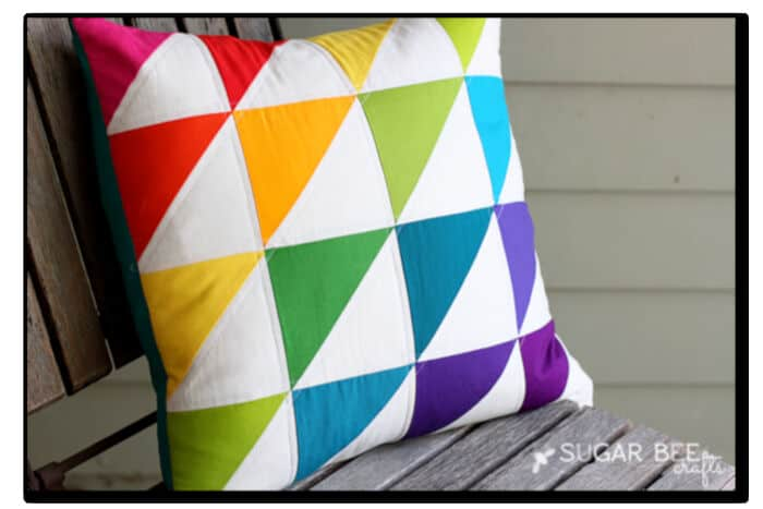 Quilted Triangle Rainbow Pillow by Sugar Bee Crafts