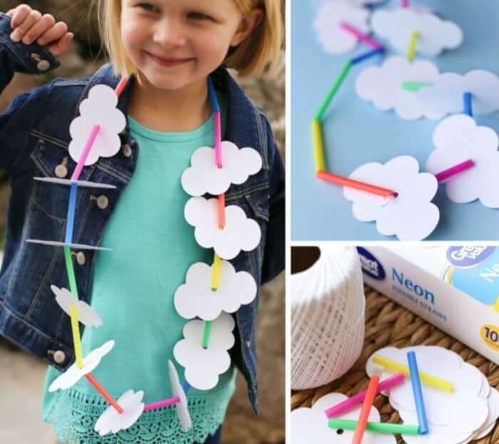 Rainbow Necklace Craft for Kids by Planning Playtime