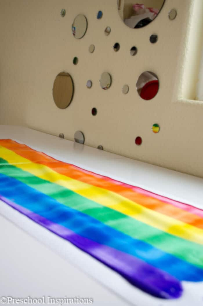 Rainbow Rolling Pin Art by Preschool Inspirations