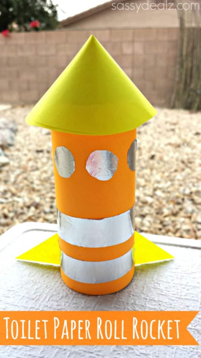Rocket Toilet Paper Roll Craft For Kids by Crafty Morning