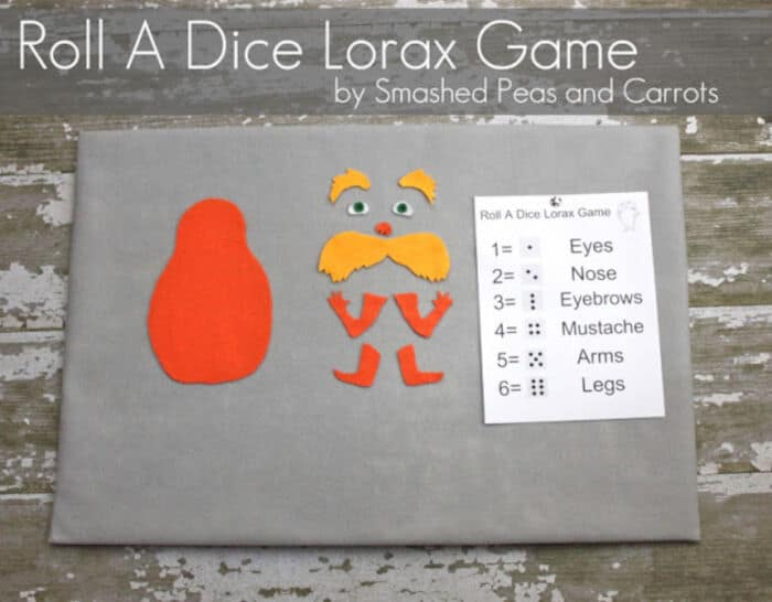 Roll A Dice Lorax Game by Smashed Peas and Carrots
