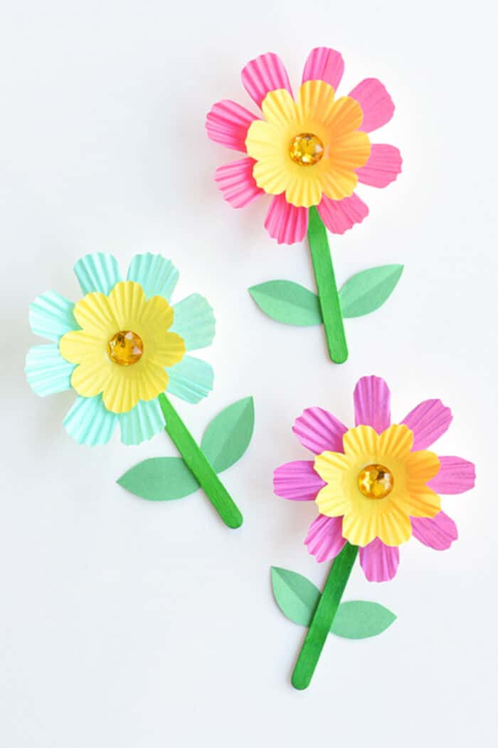 Simple Cupcake Liner Flowers Tutorial by One Little Project