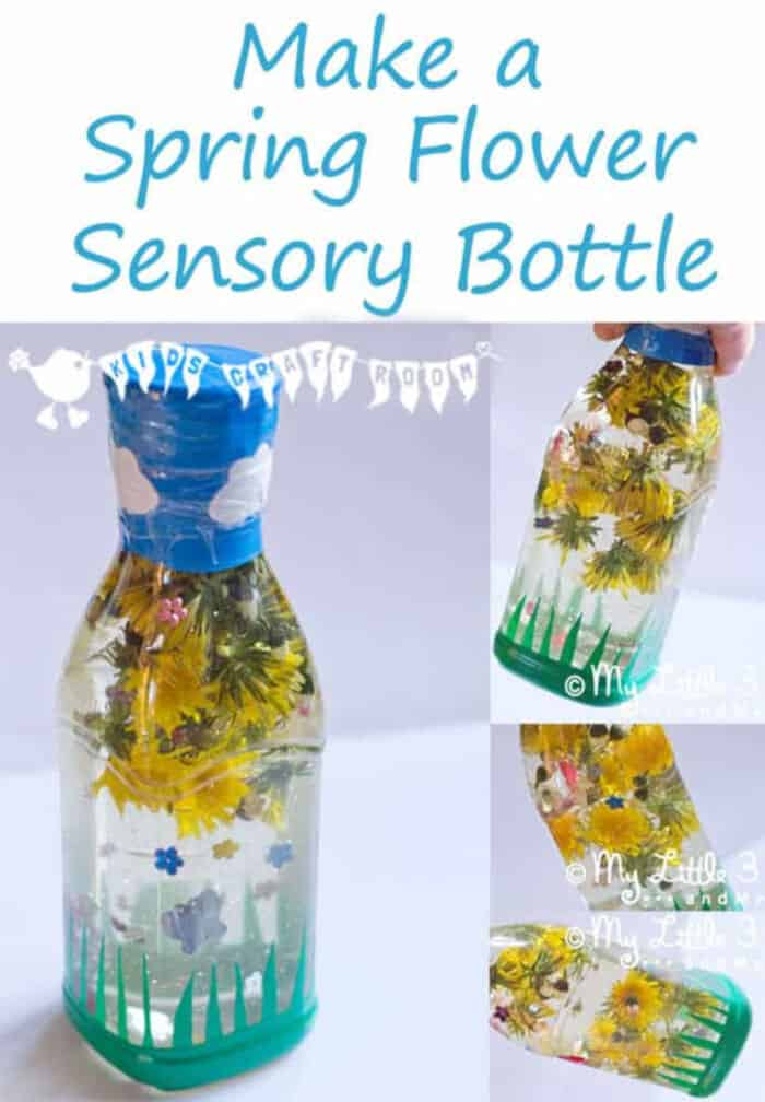 Spring Flower Sensory Bottle by Kids Craft Room