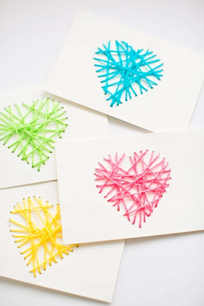 String Heart Yarn Cards by Hello, Wonderful