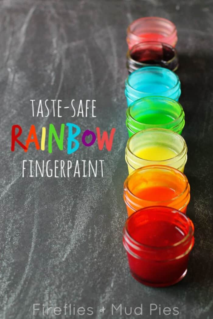 Taste-Safe Rainbow Fingerpaints by Fireflies Mud Pies