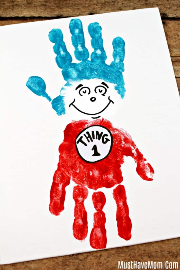 Thing 1 and Thing 2 Handprint Painting by Must Have Mom