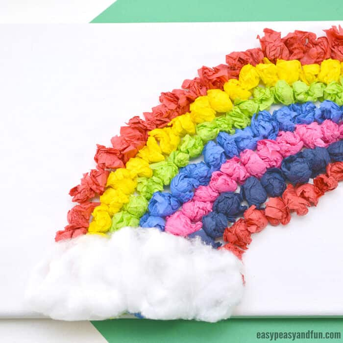 Tissue Paper Rainbow Canvas Art by Easy Peasy and Fun