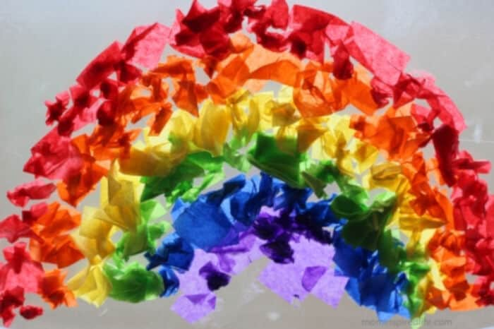 Tissue Paper Rainbow Suncatcher by Fun Learning for Kids