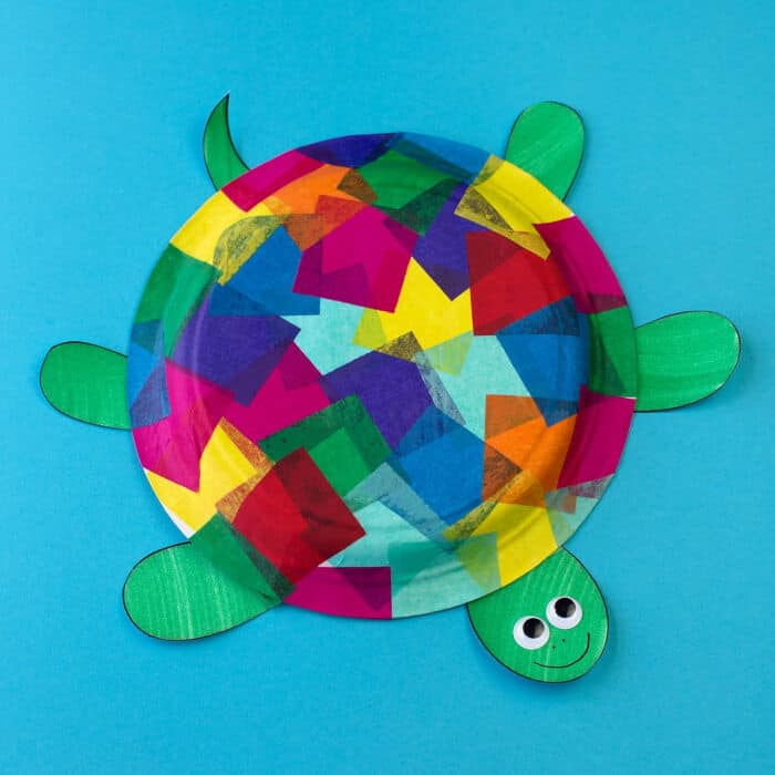 Tissue Paper and Paper Plate Turtle Craft by Fireflies and Mud Pies