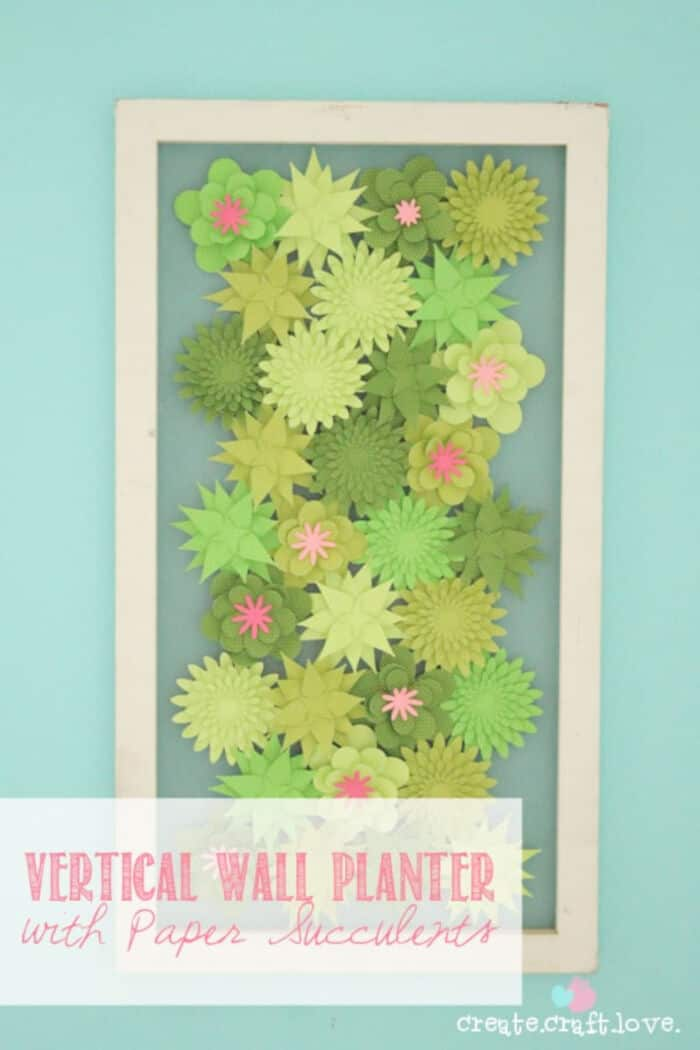 Vertical Wall Planter with Paper Succulents by Create Craft Love