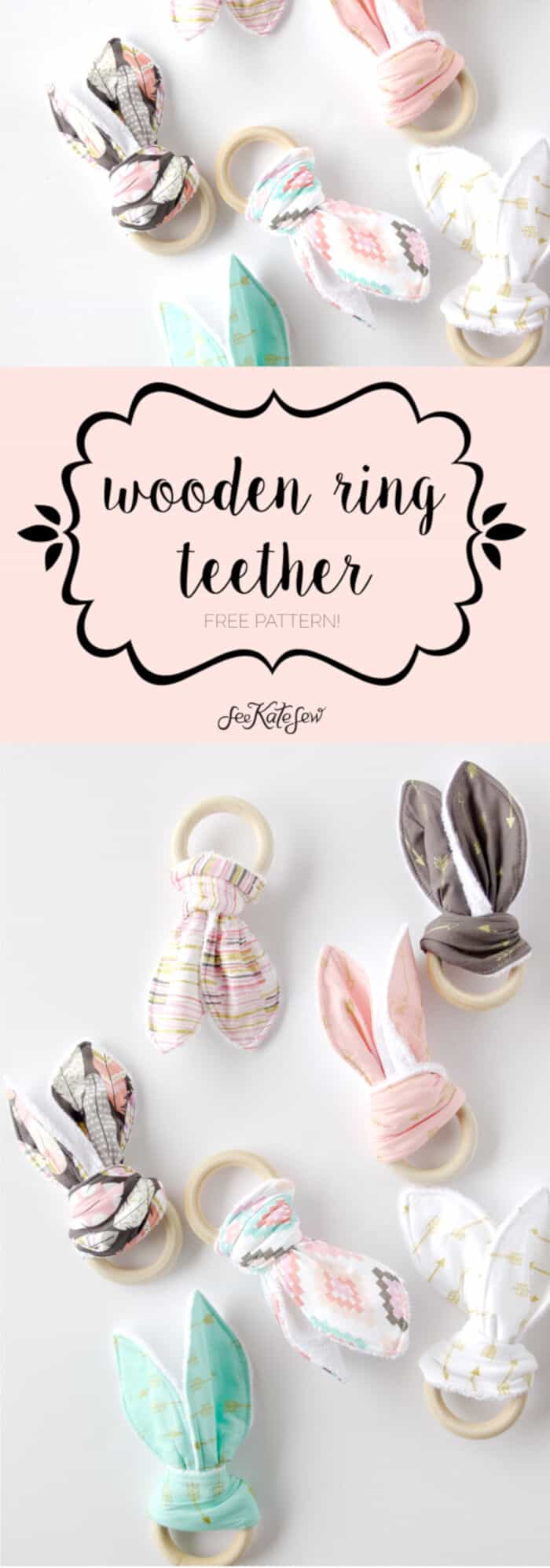 Wooden Ring Teether by See Kate Sew