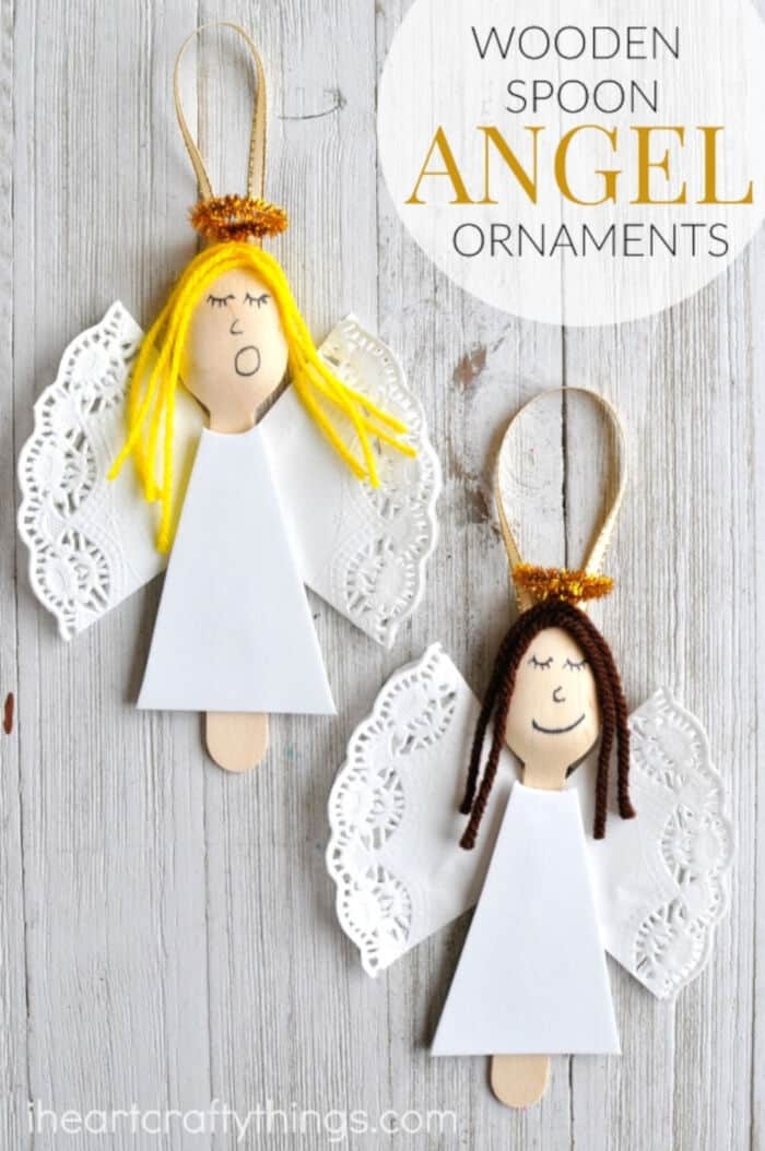 Wooden Spoon Angel Christmas Ornaments by I Heart Crafty Things