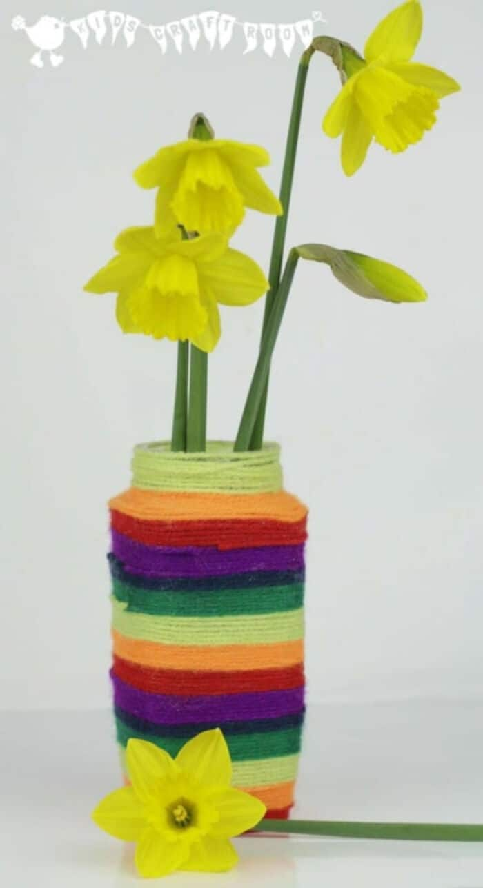 Yarn Covered Vase Or Desk Tidy by Kids Craft Room