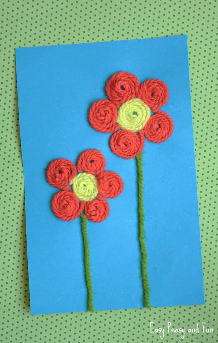 Yarn Flower Craft by Easy Peasy and Fun