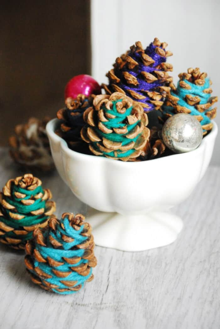 Yarn Pine Cones by Family Chic