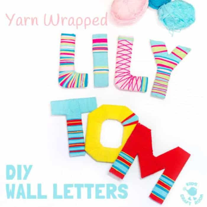 Yarn Wrapped DIY Wall Letters by Kids Craft Room