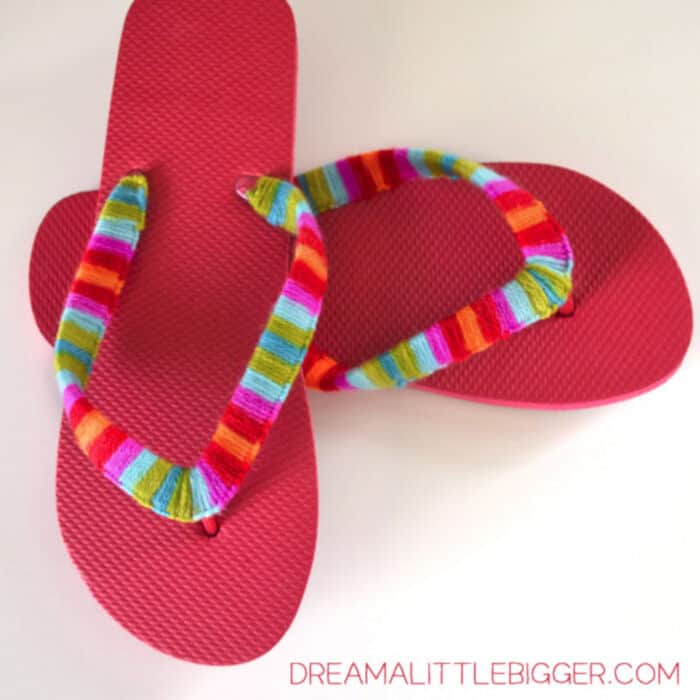 Yarn Wrapped Flip Flops by Dream A Little Bigger