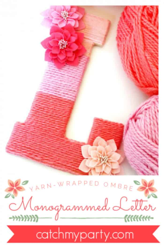 Yarn-Wrapped Ombre Monogrammed Letter by Catch My Party